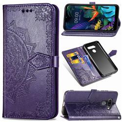 Embossing Imprint Mandala Flower Leather Wallet Case for LG K50 - Purple