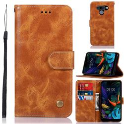 Luxury Retro Leather Wallet Case for LG K50 - Golden