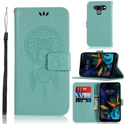 Intricate Embossing Owl Campanula Leather Wallet Case for LG K50 - Green