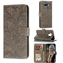 Intricate Embossing Lace Jasmine Flower Leather Wallet Case for LG K50 - Gray