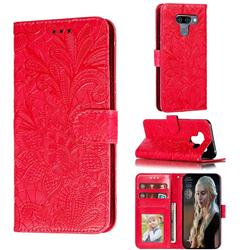 Intricate Embossing Lace Jasmine Flower Leather Wallet Case for LG K50 - Red
