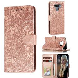 Intricate Embossing Lace Jasmine Flower Leather Wallet Case for LG K50 - Rose Gold