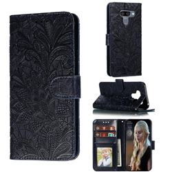 Intricate Embossing Lace Jasmine Flower Leather Wallet Case for LG K50 - Dark Blue