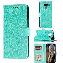 Intricate Embossing Lace Jasmine Flower Leather Wallet Case for LG K50 - Green