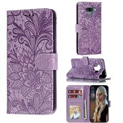 Intricate Embossing Lace Jasmine Flower Leather Wallet Case for LG K50 - Purple