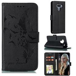 Intricate Embossing Lychee Feather Bird Leather Wallet Case for LG K50 - Black