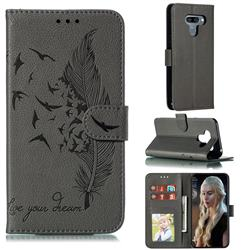 Intricate Embossing Lychee Feather Bird Leather Wallet Case for LG K50 - Gray