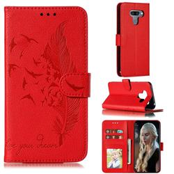 Intricate Embossing Lychee Feather Bird Leather Wallet Case for LG K50 - Red
