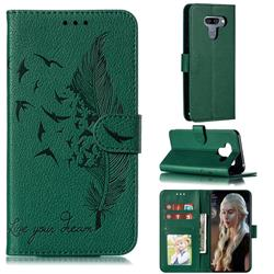 Intricate Embossing Lychee Feather Bird Leather Wallet Case for LG K50 - Green
