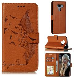 Intricate Embossing Lychee Feather Bird Leather Wallet Case for LG K50 - Brown