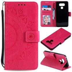 Intricate Embossing Datura Leather Wallet Case for LG K50 - Rose Red