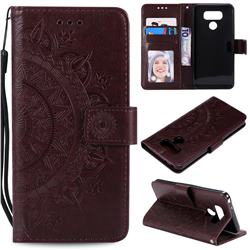 Intricate Embossing Datura Leather Wallet Case for LG K50 - Brown