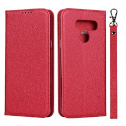 Ultra Slim Magnetic Automatic Suction Silk Lanyard Leather Flip Cover for LG K50 - Red