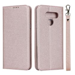 Ultra Slim Magnetic Automatic Suction Silk Lanyard Leather Flip Cover for LG K50 - Rose Gold