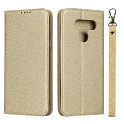 Ultra Slim Magnetic Automatic Suction Silk Lanyard Leather Flip Cover for LG K50 - Golden