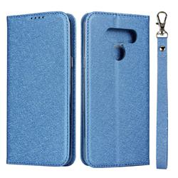 Ultra Slim Magnetic Automatic Suction Silk Lanyard Leather Flip Cover for LG K50 - Sky Blue