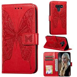Intricate Embossing Vivid Butterfly Leather Wallet Case for LG K50 - Red