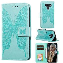 Intricate Embossing Vivid Butterfly Leather Wallet Case for LG K50 - Green