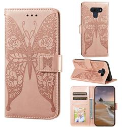 Intricate Embossing Rose Flower Butterfly Leather Wallet Case for LG K50 - Rose Gold