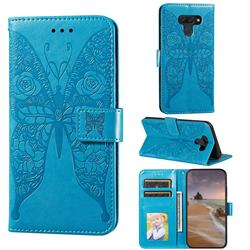 Intricate Embossing Rose Flower Butterfly Leather Wallet Case for LG K50 - Blue