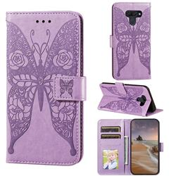 Intricate Embossing Rose Flower Butterfly Leather Wallet Case for LG K50 - Purple