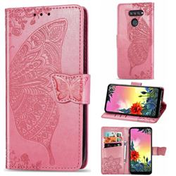 Embossing Mandala Flower Butterfly Leather Wallet Case for LG K50S - Pink