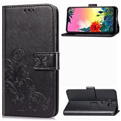 Embossing Imprint Four-Leaf Clover Leather Wallet Case for LG K50S - Black