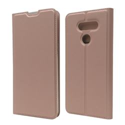 Ultra Slim Card Magnetic Automatic Suction Leather Wallet Case for LG K50S - Rose Gold