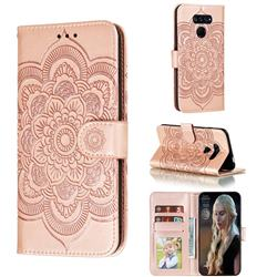 Intricate Embossing Datura Solar Leather Wallet Case for LG K50S - Rose Gold