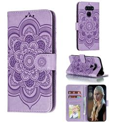 Intricate Embossing Datura Solar Leather Wallet Case for LG K50S - Purple