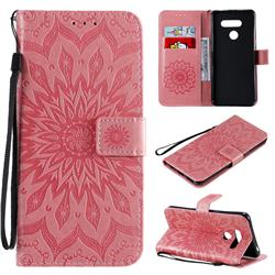 Embossing Sunflower Leather Wallet Case for LG K50S - Pink