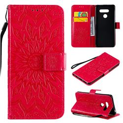 Embossing Sunflower Leather Wallet Case for LG K50S - Red