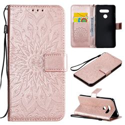 Embossing Sunflower Leather Wallet Case for LG K50S - Rose Gold