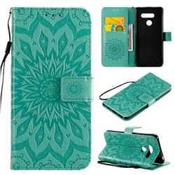 Embossing Sunflower Leather Wallet Case for LG K50S - Green