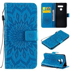 Embossing Sunflower Leather Wallet Case for LG K50S - Blue