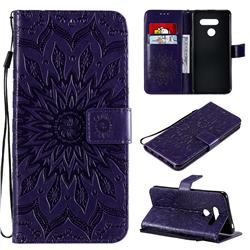 Embossing Sunflower Leather Wallet Case for LG K50S - Purple
