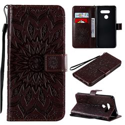 Embossing Sunflower Leather Wallet Case for LG K50S - Brown