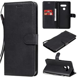 Retro Greek Classic Smooth PU Leather Wallet Phone Case for LG K50S - Black