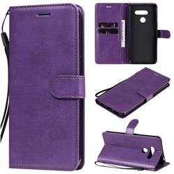 Retro Greek Classic Smooth PU Leather Wallet Phone Case for LG K50S - Purple