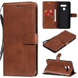Retro Greek Classic Smooth PU Leather Wallet Phone Case for LG K50S - Brown