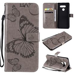 Embossing 3D Butterfly Leather Wallet Case for LG K50S - Gray