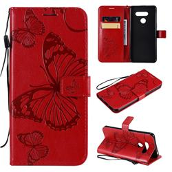 Embossing 3D Butterfly Leather Wallet Case for LG K50S - Red