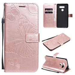 Embossing 3D Butterfly Leather Wallet Case for LG K50S - Rose Gold