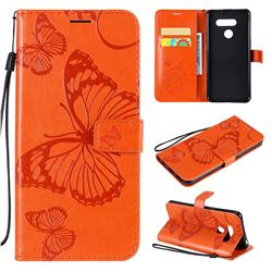 Embossing 3D Butterfly Leather Wallet Case for LG K50S - Orange