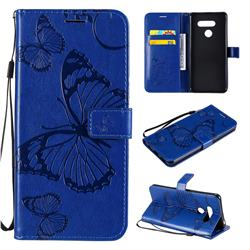 Embossing 3D Butterfly Leather Wallet Case for LG K50S - Blue