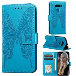 Intricate Embossing Vivid Butterfly Leather Wallet Case for LG K50S - Blue