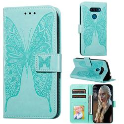 Intricate Embossing Vivid Butterfly Leather Wallet Case for LG K50S - Green