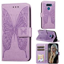 Intricate Embossing Vivid Butterfly Leather Wallet Case for LG K50S - Purple