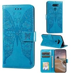 Intricate Embossing Rose Flower Butterfly Leather Wallet Case for LG K50S - Blue