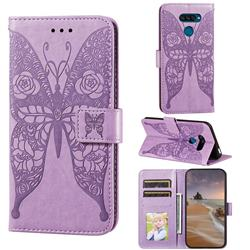 Intricate Embossing Rose Flower Butterfly Leather Wallet Case for LG K50S - Purple